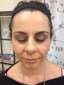 Michelle with one done brow...look at the difference your brows can make!